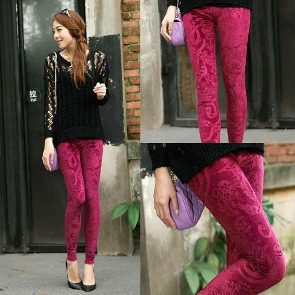 Women Lady Sexy Pleuche Soft Velvet Flower Leggings Tights Pants Red