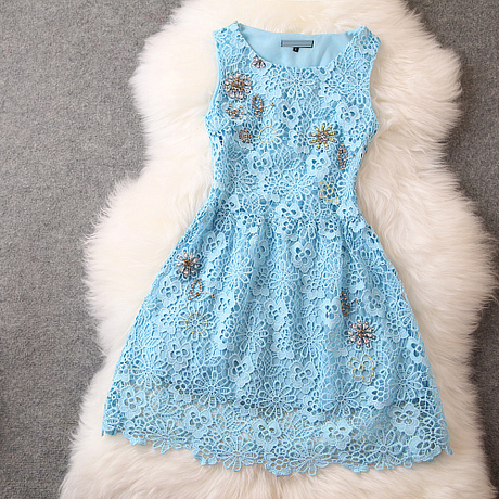 Beads Lace Sleeveless Dress