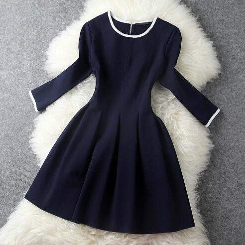 Fashion Dark Blue Dress