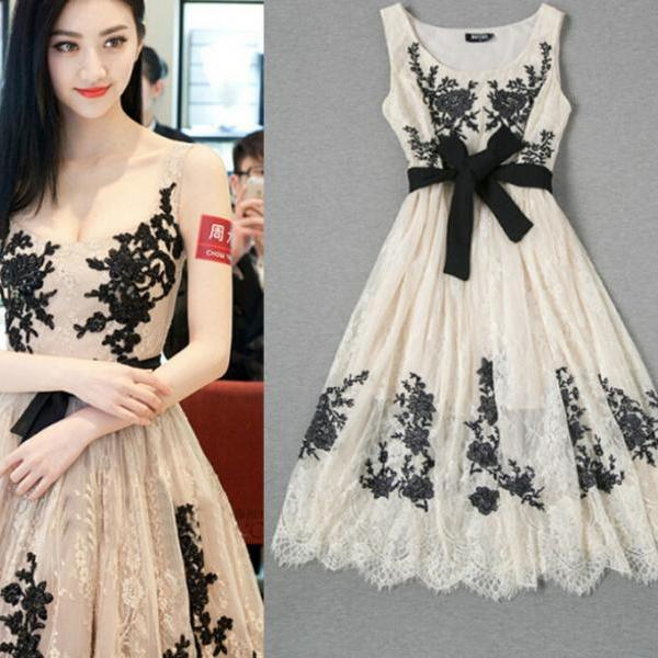 Fashion Ladies Temperament Lace Embroidered Gauze Dress XE0104BJ