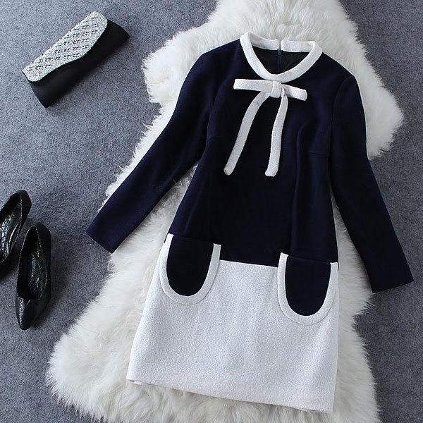 Bow Round Neck Long-sleeved Dress GV823EH