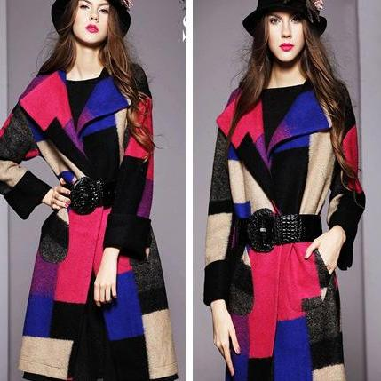 Color Stitching Loose Big Yards Fashion Woolen Coat Jacket BH1127BE