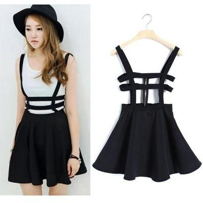 Strap dress Skater suspender skirt Mini Women Zip Playsuit Chic Kawaii ES9P (Color: Black)