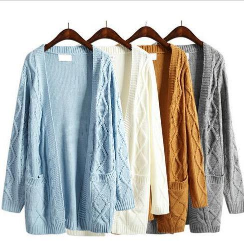 Women Harajuku winter long section long sleeved thick knit sweater cardigan coat #151