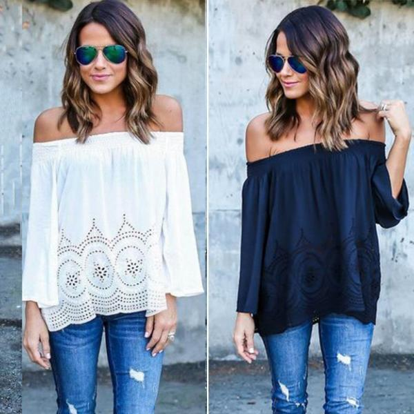 Off-The-Shoulder Dotted Floral Cutout Long Sleeve Top