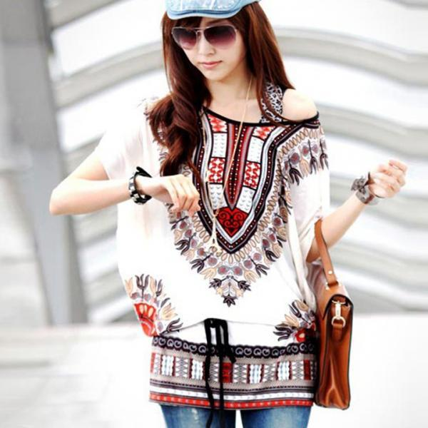 Women Casual Round Neck Blouse Loose Print Batwing Sleeve Tunic Blouse Tops