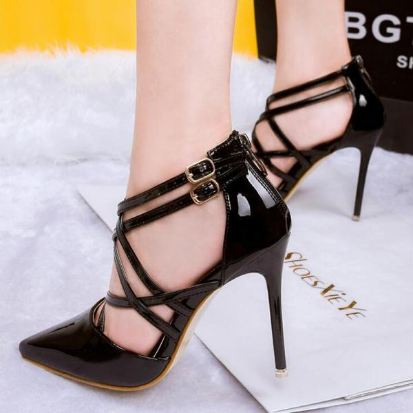 Women medium red golden sexy pumps heels lady shoes fashion black pointed toe thin high female silvery Wedding heel Sandals shoe