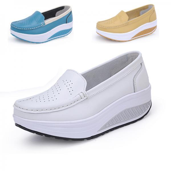 New Summer genuine leather women's shoes nurse swing shoes work single shoes wedges platform shoes
